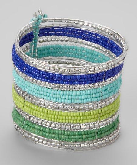 Silver & Blue Stripe Beaded Cuff