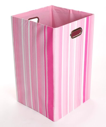 Rose Stripes Folding Laundry Bin