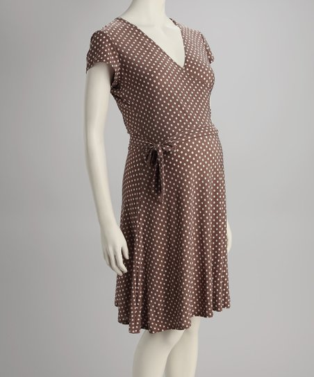Mocha Polka Dot Maternity Wrap Dress - Women