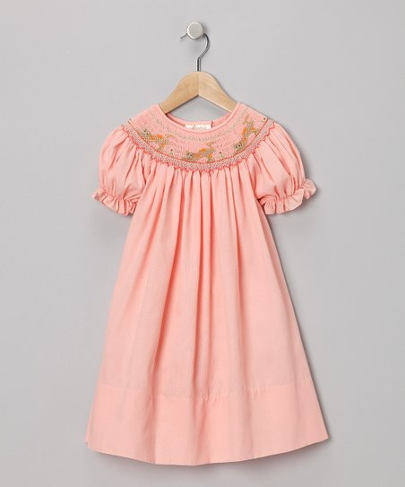 Peach Cat Piqué Bishop Dress - Toddler