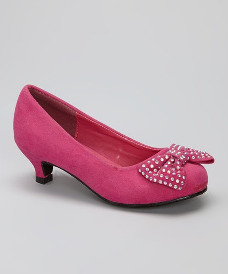Fuchsia Studded Heart Kitten Heel
