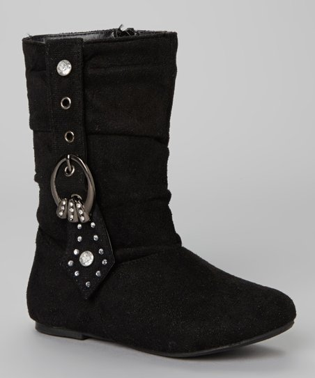 Black Rhinestone Buckle Bella Boot
