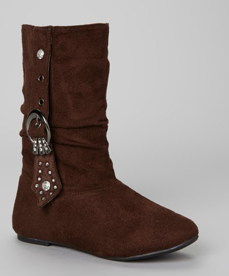 Coffee Rhinestone Buckle Bella Boot