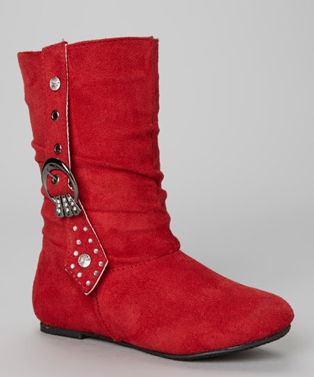 Red Rhinestone Buckle Bella Boot