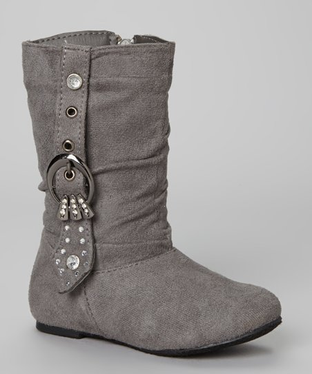 Gray Rhinestone Buckle Bella Boot