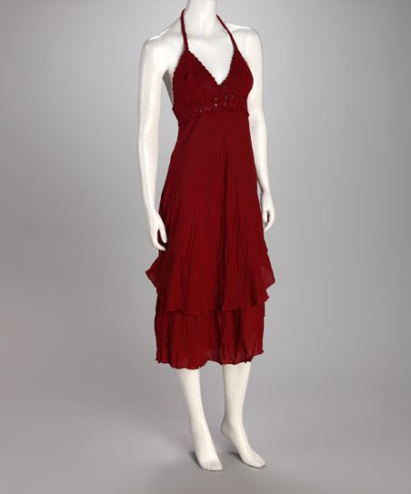 Ruby Ruffle Halter Dress
