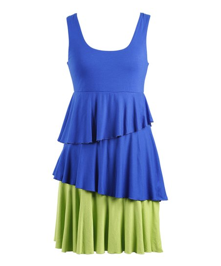 Royal Blue & Green Ruffle Dress