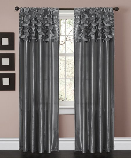 Gray Circle Curtain Panel - Set of Two