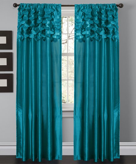 Turquoise Circle Curtain Panel - Set of Two