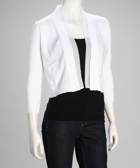 White Pretty Women Open Cardigan - Women