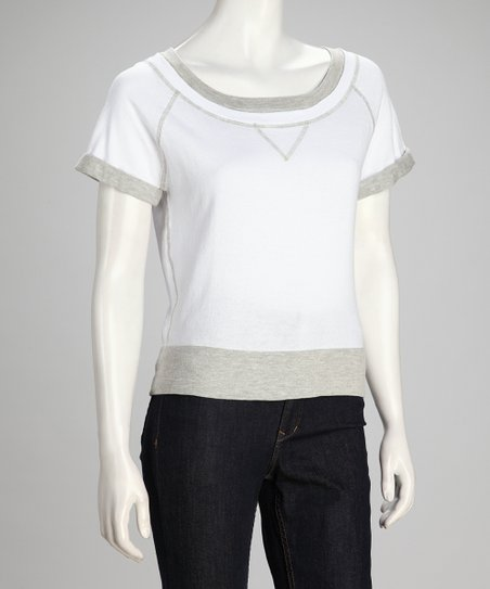 White Short-Sleeve Sweatshirt - Women