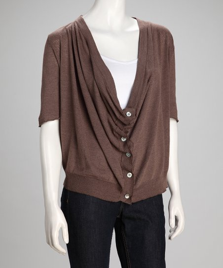 Mocha & Putty Linen-Blend Cardigan - Women