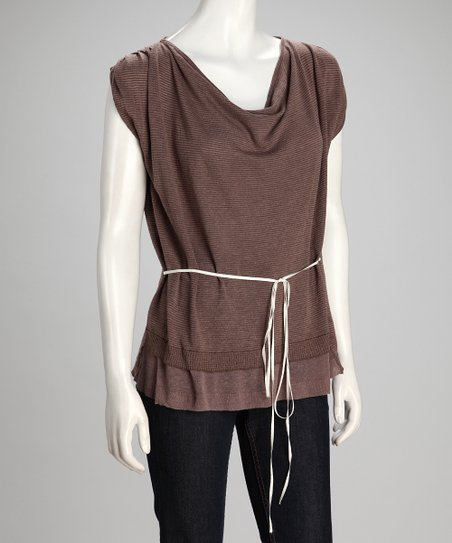 Mocha &amp; Putty Installation Linen-Blend Layered Top - Women