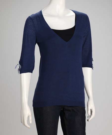 Sapphire & Blue Pop Linen-Blend V-Neck Top - Women