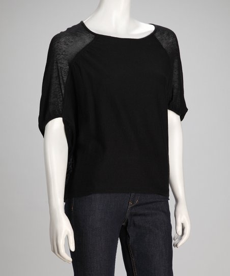 Black Abstract Linen-Blend Dolman Top - Women
