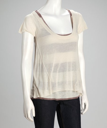 Putty Stripe Exhibition Linen-Blend Layered Top - Women