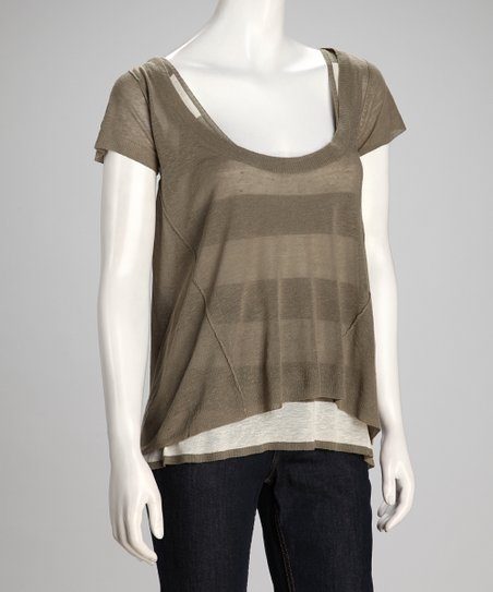 Green Stripe Exhibition Linen-Blend Layered Top - Women