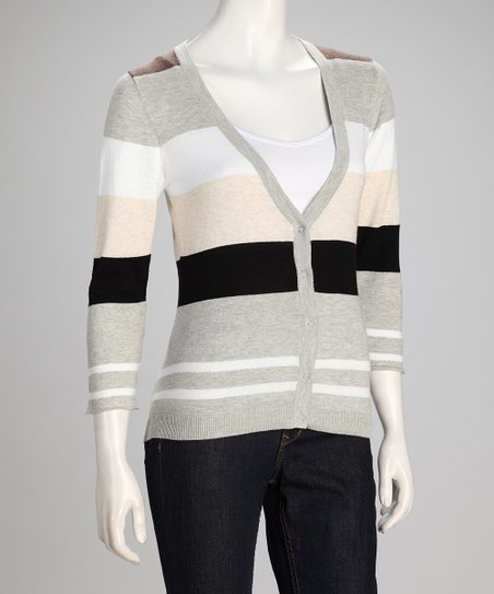 Mocha Stripe Linen-Blend Cardigan - Women