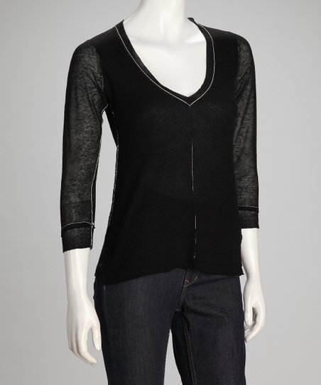 Black The Realist Linen-Blend V-Neck Top - Women