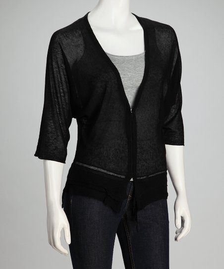 Black Sheer Linen-Blend Cardigan - Women