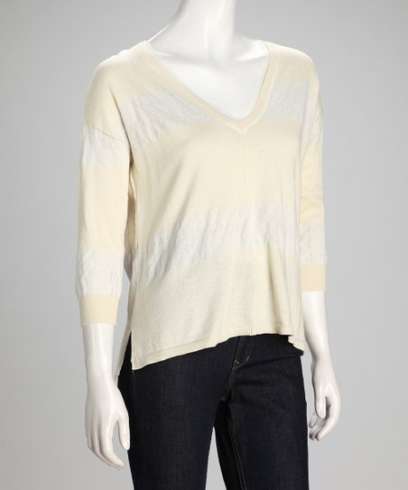 Mustard & Gray Stripe Best Bet V-Neck Top - Women