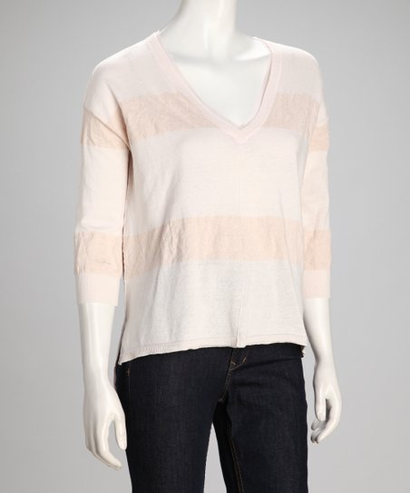 Peach & White Stripe Best Bet V-Neck Top - Women