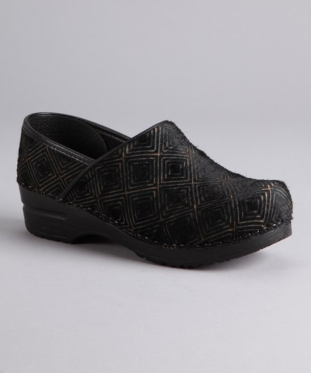 Black Graphic Closed Clog - Women