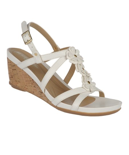 White Sudi Wedge Sandal