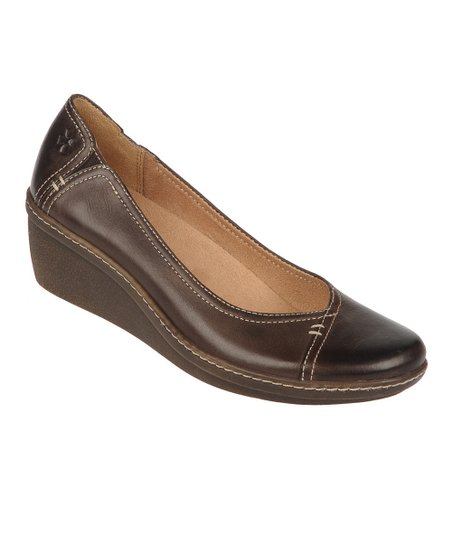 Oxford Brown Mirage Genie Leather Wedge