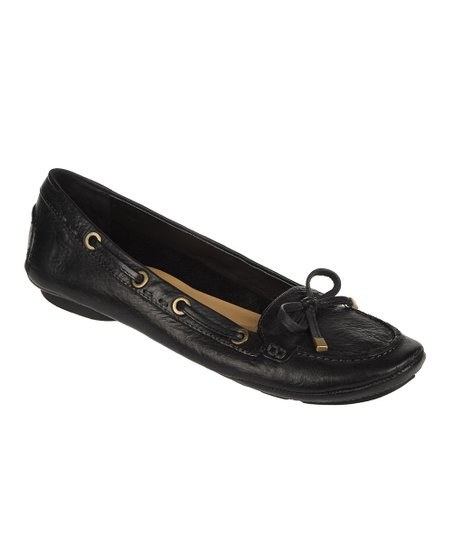 Black Enlight Leather Flat