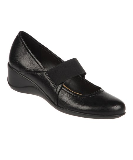 Black Leather Ande Wedge