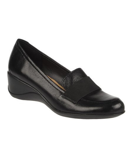 Black Ashlyn Leather Wedge Loafer