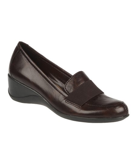 Oxford Brown Ashlyn Leather Wedge Loafer