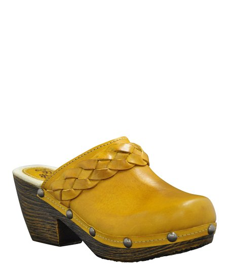 Yellow Leather Braiden Clog