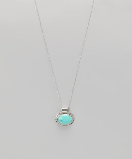 Turquoise &amp; Sterling Silver Oval Pendant Necklace