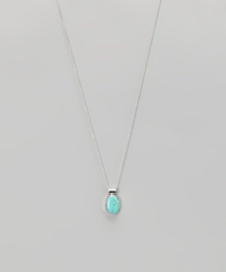 Turquoise &amp; Sterling Silver Inlay Pendant Necklace