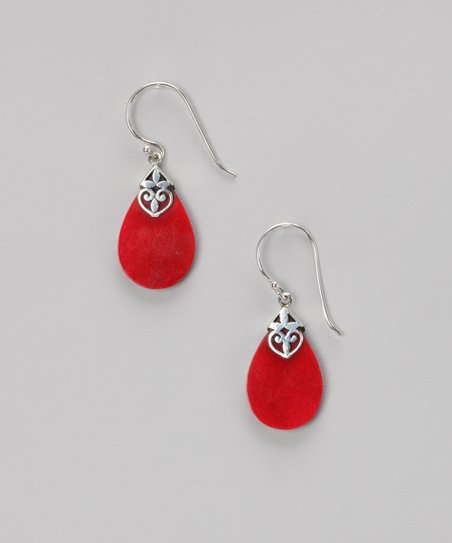 Coral & Sterling Silver Teardrop Earrings