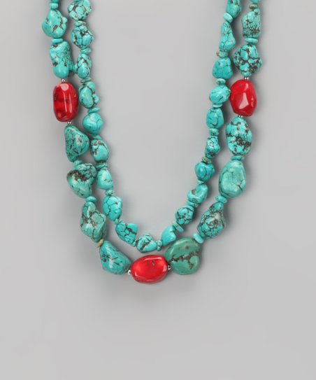 Turquoise & Coral Chunky Bead Duo Necklace