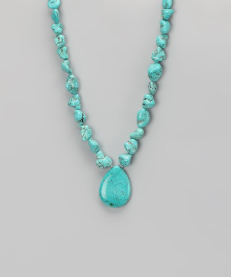 Turquoise &amp; Sterling Silver Chunky Teardrop Pendant Necklace