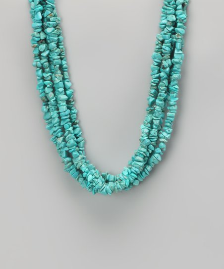 Turquoise & Sterling Silver Chip Strand Necklace