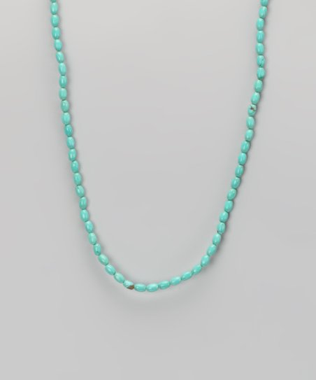 Turquoise &amp; Sterling Silver Rice Bead Necklace