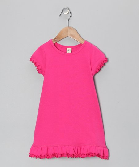 Hot Pink Lettuce-Edge A-Line Dress - Toddler & Girls