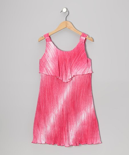 Berry Tie-Dye Ruffle Dress