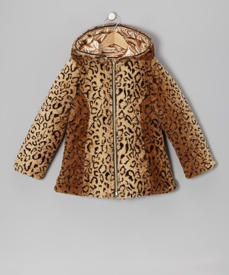 Tan Leopard Faux Fur Swing Coat - Girls