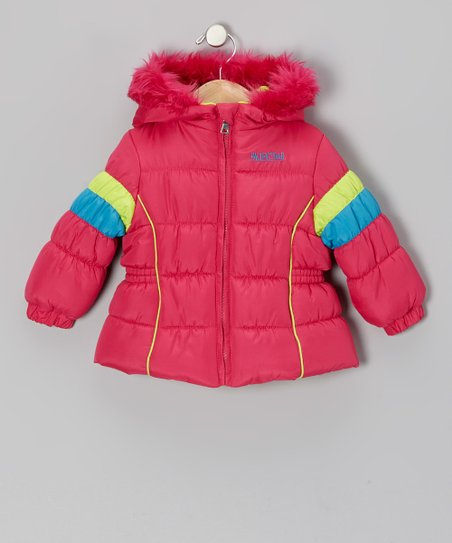 Pink & Neon Green Puffer Coat - Infant & Toddler