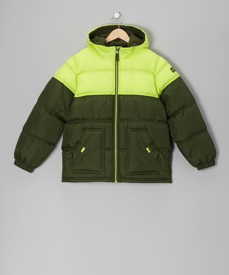 Lime & Olive Puffer Coat - Boys