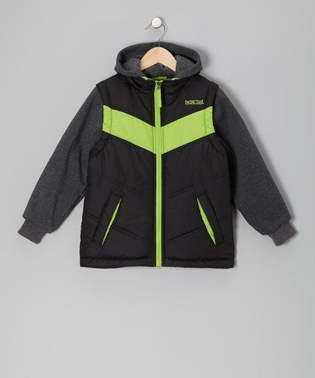 Lime & Black Fleece-Lined Layered Puffer Coat - Boys