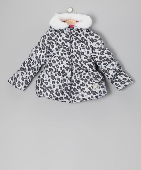 Gray Leopard Puffer Coat - Girls