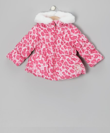 Pink Leopard Puffer Coat - Infant & Toddler