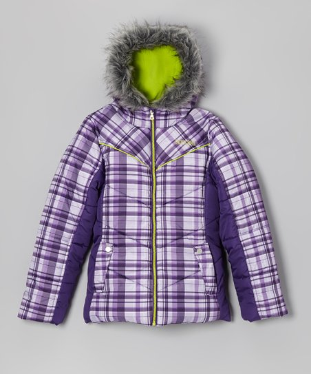 Vast Plum Plaid Puffer Coat - Girls